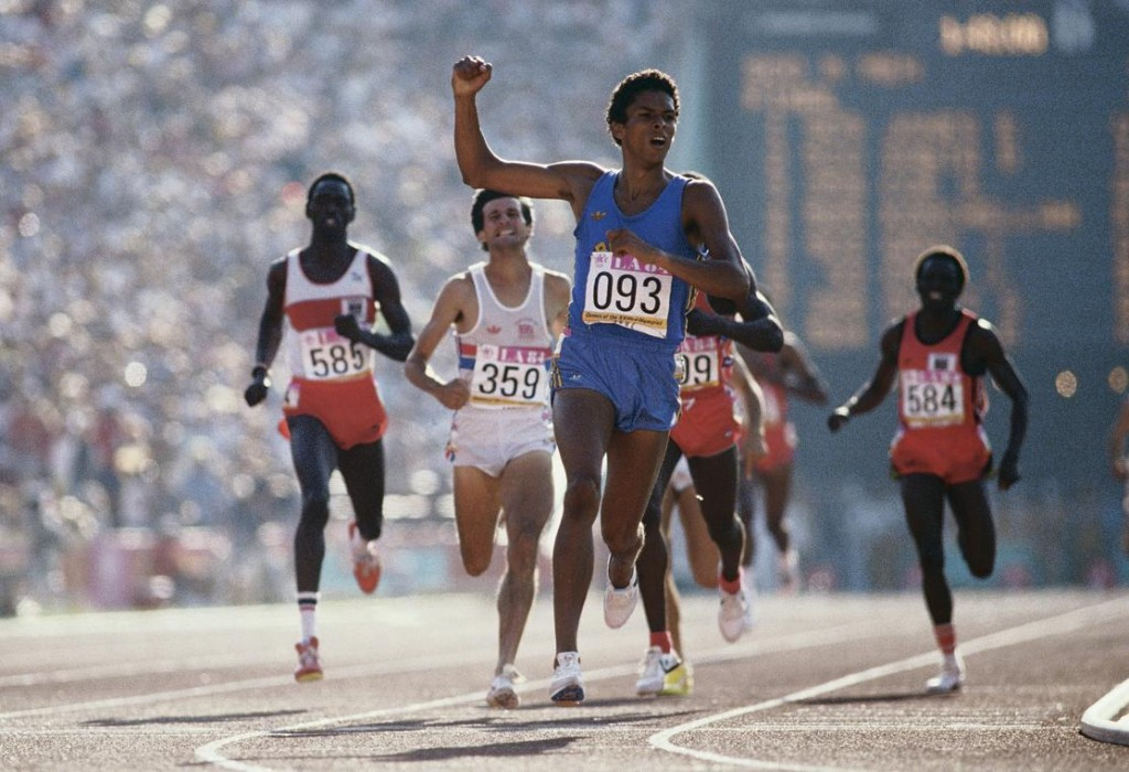 Joaquim Cruz #093 of Brazil races to the gold medal against Sebastian Coe #359, Billy Konchellah #585, Edwin Koech #584,and Earl Jones #903 during the final of the Men's 800 metres event at the XXIII Summer Olympics on 6th August 1984 at the Los Angeles Memorial Coliseum in Los Angeles, California, United States.(Photo by Steve Powell/Getty Images)